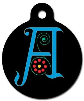 Monogram Letter A Pet ID Tag for Dogs and Cats