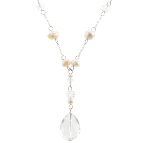 Sterling Silver White Freshwater Cultured Pearl and Clear Crystal Necklace, 18
