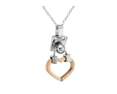 Fashion 18K Rose Gold Plated Purity Love Heart Lock Chain Austrian Crystals Couple Pendant Necklace (Women)