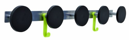 Alba Five Plastic Peg Wall Coat Rack With 2 Plastic Hooks, Metallic Gray With Black Accents (Pms5) front-650114