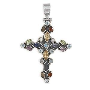 Multiple Gemstone Cross Hinged Pendant Antiqued Finish Sterling Silver