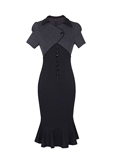 Sunblume Women's Vintage Fishtail Short Sleeve Slim Retro Evening Dress 1