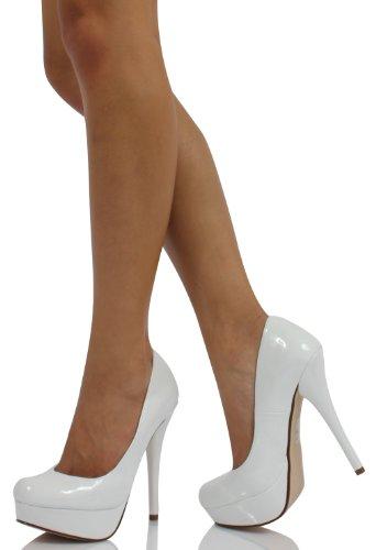 White Leatherette Patent Platform High Heel Pumps Jones
