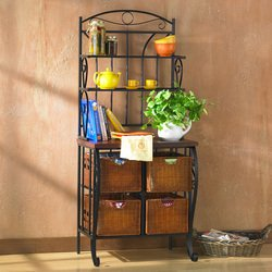 Iron / Wicker Baker's Rack