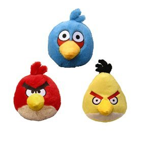 Angry Birds Plush 4-inch Red, Blue Yellow Birds Set of 3 by Angry Birds