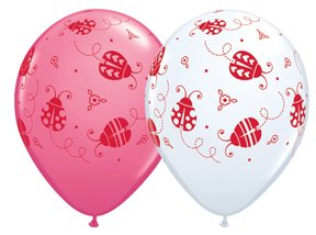 "Fifteen (15) 11"" Ladybug Latex Happy Birthday Party Balloons Decorations Supplies"