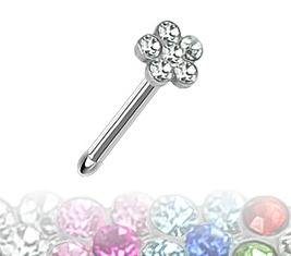 316L Surgical Steel Nose Stud with 4mm Multi-Gem Paved Flower Top - Supplied in Gift Pouch