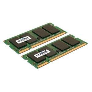 Crucial CT2KIT25664AC800 200-pin SODIMM DDR2 PC2-6400 • CL=6 • Unbuffered • NON-ECC • DDR2-800 • 1.8V • 256Meg x 64