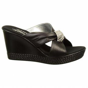 Onex Women'S Knot Wedge Sandal,Black/Silver,6 M Us front-983025