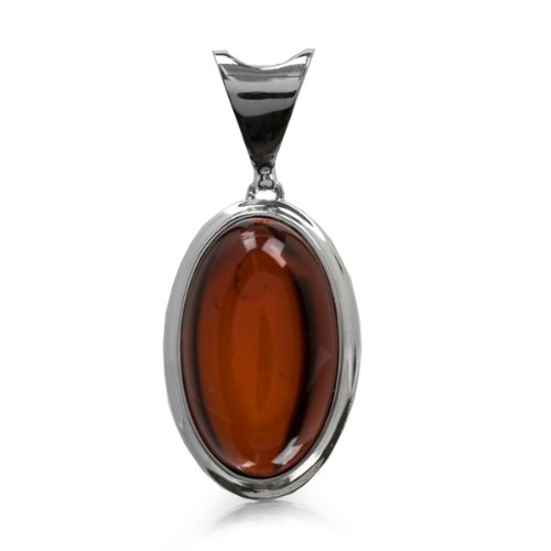 Cherry Amber and Sterling Silver Oval Pendant