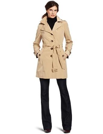 Calvin Klein Women's Poly Zip Out Raincoat, Khaki, X-Small