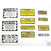11 Piece Miscellaneous Decal Set (For Ih 240 Gas Tractors That Have Metal Emblems)