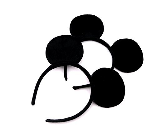 Finex Mickey Minnie Mouse Costume Deluxe Fabric Ears Headband *Set of 2*
