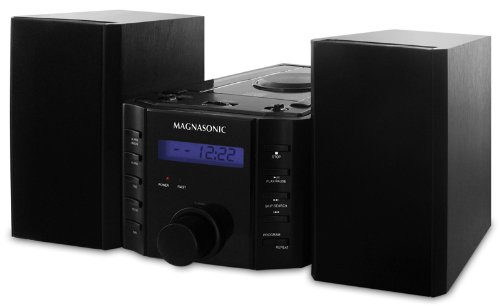Magnasonic MAG-MS857 CD Player Stereo Speaker Micro System with Alarm Clock, AM/FM Radio and Auxiliary Input for MP3 Players