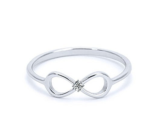 Heavy Casted 925 Sterling Silver Infinity Ring-Centered High Quality CZ Stone Available in Sizes 4-10 (7)