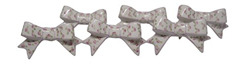 Ceramic Decorative Drawer Handle Bow Shaped Knobs With Hand Painted Designs (Pink Flowers) (Disney Ceramic Knobs compare prices)