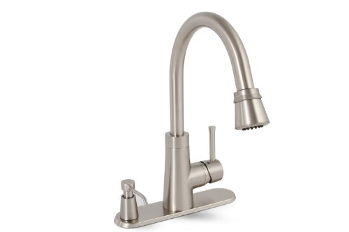 Premier 120077LF Essen Lead-Free Single-Handle Pull-Down Kitchen Faucet with Soap Dispenser, Brushed Nickel