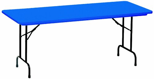 """Correll R2448 27 R Series Blow Molded Plastic Fixed Height Commercial Duty Folding Table, Rectangular, 24"""" Width X 48"""" Length, Royal Blue"""