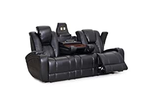 SeatCraft Transformer Reclining Sofa with Power and Drop Down Table, Brown