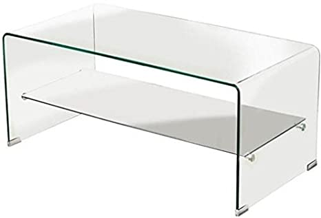 Mesa de centro con balda cristal curvado 100x48 cm