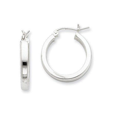 3mm, Silver, Polished Square Hoops - 30mm (1-1/8