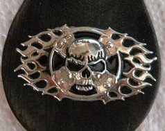Skull Cross with Flames Biker Concho / Emblem, for Harley Motorcycle Leather. Screw back / Also can be used in any Leather - Belt / Saddle