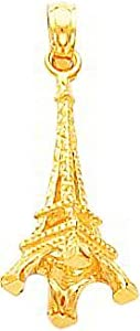 14K Yellow Gold 3D Eiffel Tower Charm Paris Pendant