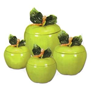 Green apple ceramic canister set kitchen for Apple kitchen decoration set