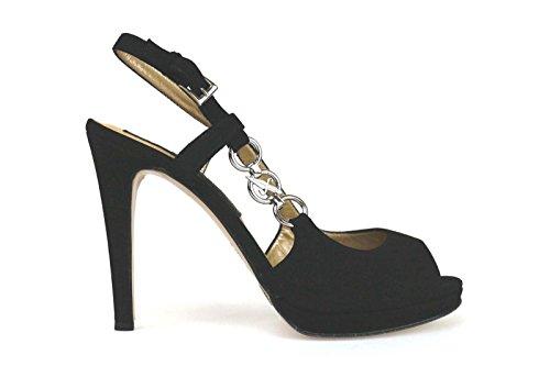 scarpe donna 4US 39 EU sandali nero camoscio AK565