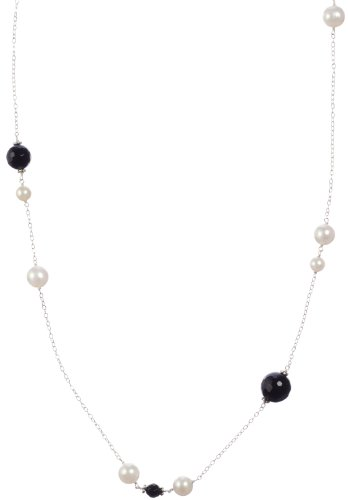 Sterling Silver Black Onyx with White Freshwater Cultured Pearl Necklace, 36