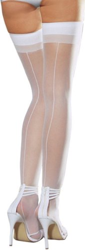 Plus Size White Sheer Thigh High Back Seamed Stockings