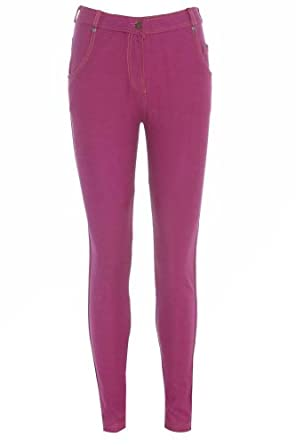 New Womens Ladies Coloured Skinny Stretch Fit Jeans Jeggings Leggings Trousers - Fuchsia - UK 10 - (75% Cotton 20% Polyester 5% Elastane)