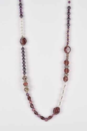 Long Beaded Necklace in Purple and Silver Handmade in Africa