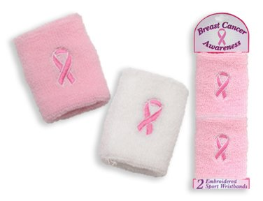 Set of 2 Pink Ribbon Embroidered Cloth Wristbands for Breast Cancer Awareness (Pink and White Mix of Colors)