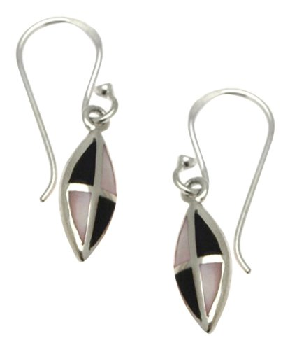 Silver Pink Mother of Pearl and Onyx Eye Shaped Earring