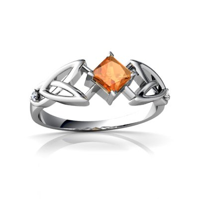 14Kt White Gold Fire Opal And Diamond Square Celtic Trinity Knot Ring - Size 6.5