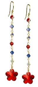 Amazon Curated Collection Swarovski Elements Red, Crystal AB and Blue Bicone and Red Star Drop Earrings on Gold Plated Sterling Silver Earwire at Sears.com