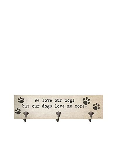 Artehouse We Love Our Dogs Leash Hanger, Beige/Black
