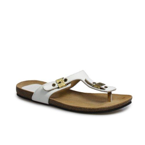 Scholl New Bimini Off weiß Leder Sandals-UK 7