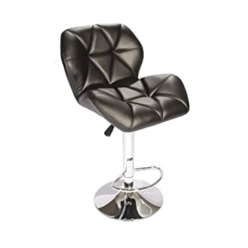 SET of (2) Black Bar Stools Leather Modern Hydraulic Swivel Dinning Chair Barstools