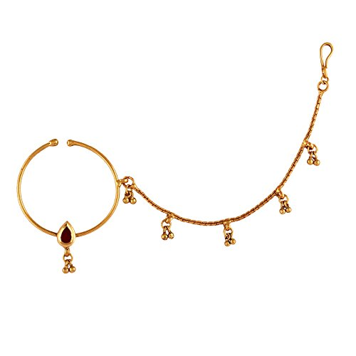 AccessHer Traditional Antique NosePin Nose Ring Rajwadi Styled Jewelry For Women - B0194ZKY98