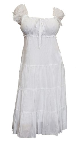 White Cotton Empire Waist SunDress