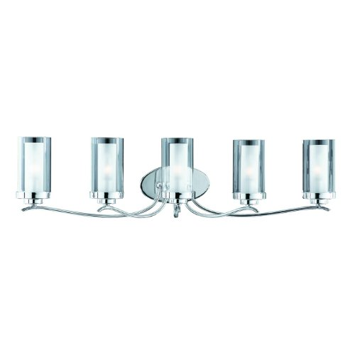 Double Glass Vanity Light : What Is The Price For Triarch 25245 Cylindique Collection 5 Light Vanity Fixture Chrome Finish ...