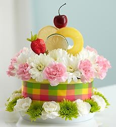 Flowers by 1800Flowers - Fresh Flower Cake Fruit Cake - Fresh Flower Cake Fruit Cake