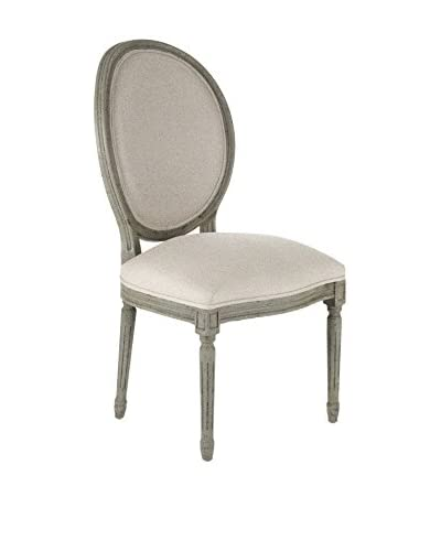 Zentique Medallion Side Chair, Off-White/Olive Green