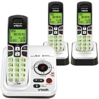 Vtech DECT 6.0 Silver/Black Expandable 3-Handset Cordless Phone System with Digital Answering Device and Caller ID (CS6229-3)