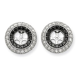 14k White Gold Black and White Diamond Earrings Jackets - JewelryWeb