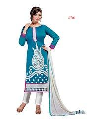 Shaily Retails Women's Blue Cotton unstiched Dress Material