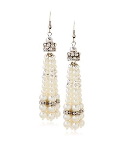 Jardin Swarovski Glass Faux Pearl Tassel Earring White/Silver As You See