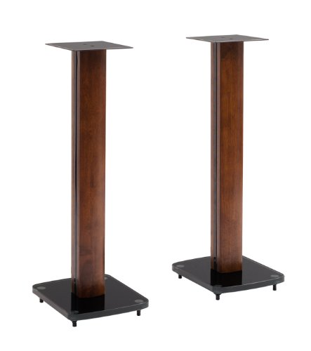 Transdeco Fixed Height Glass And Steel Speaker Stands, 30-Inch